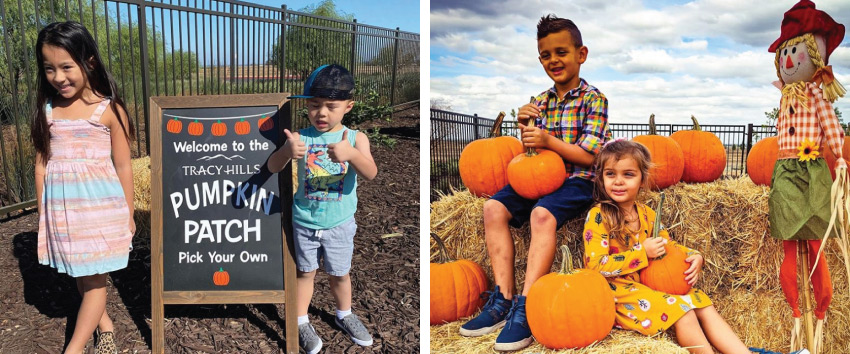 children posing with tracy hills sign | children posing with pumpkins