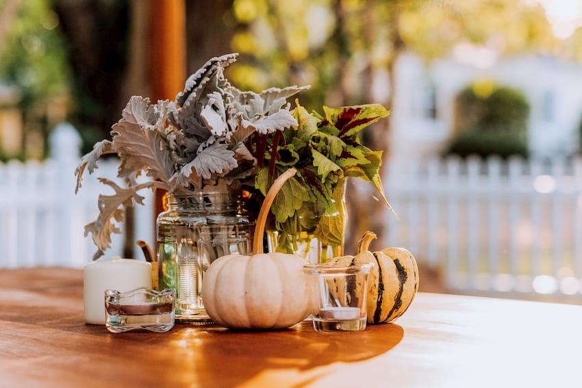 pumpkin centerpiece on table