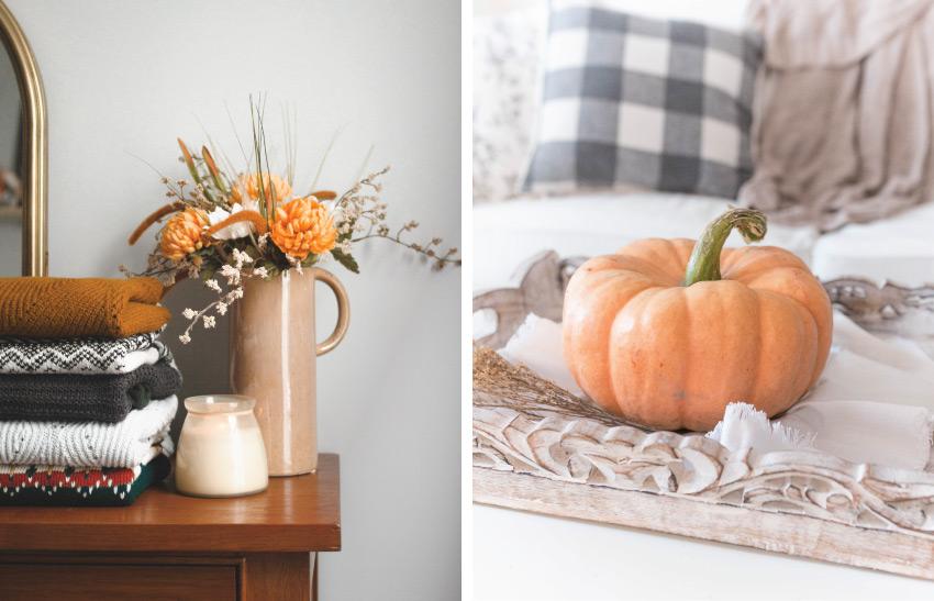 sweaters on a dresser | pumpkin