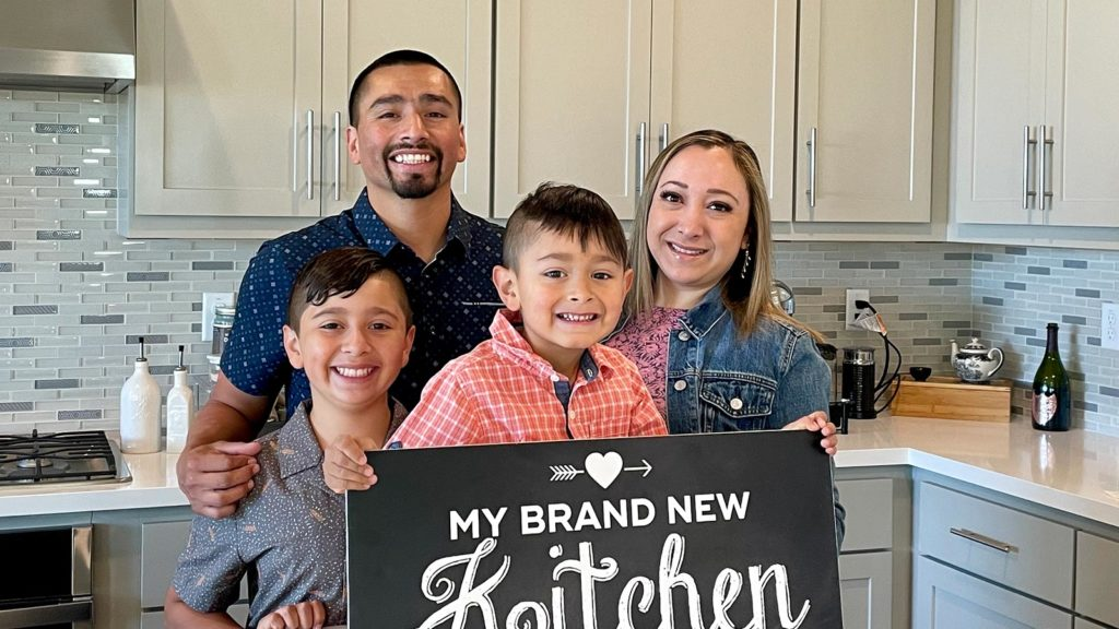 Maricela and Jose and family in their new Kitchen at Tracy Hills.